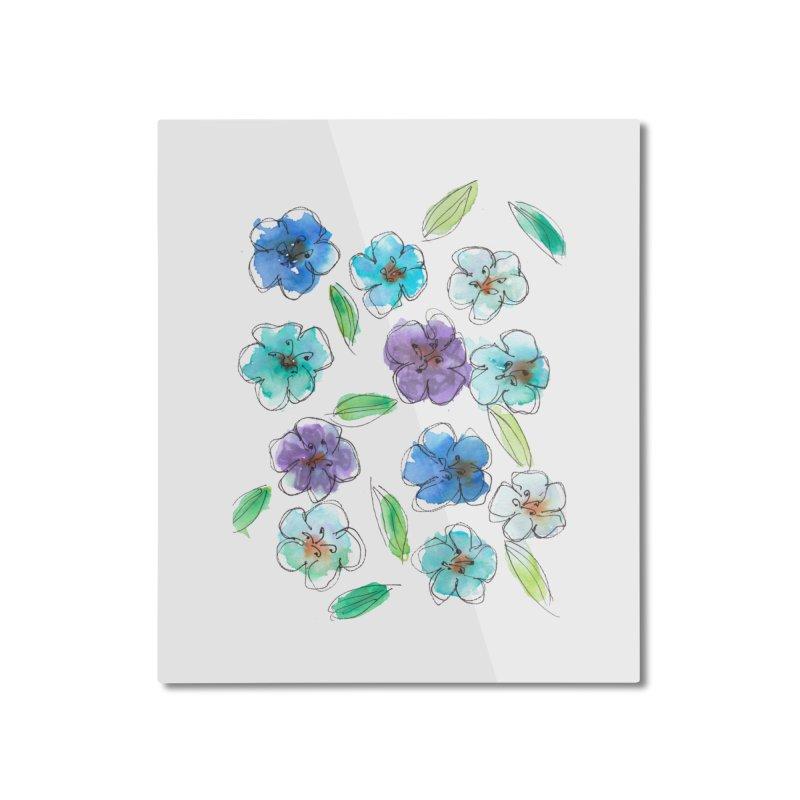 Blue flowers Home Mounted Aluminum Print by designsbydana's Artist Shop