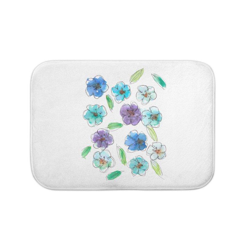 Blue flowers Home Bath Mat by designsbydana's Artist Shop