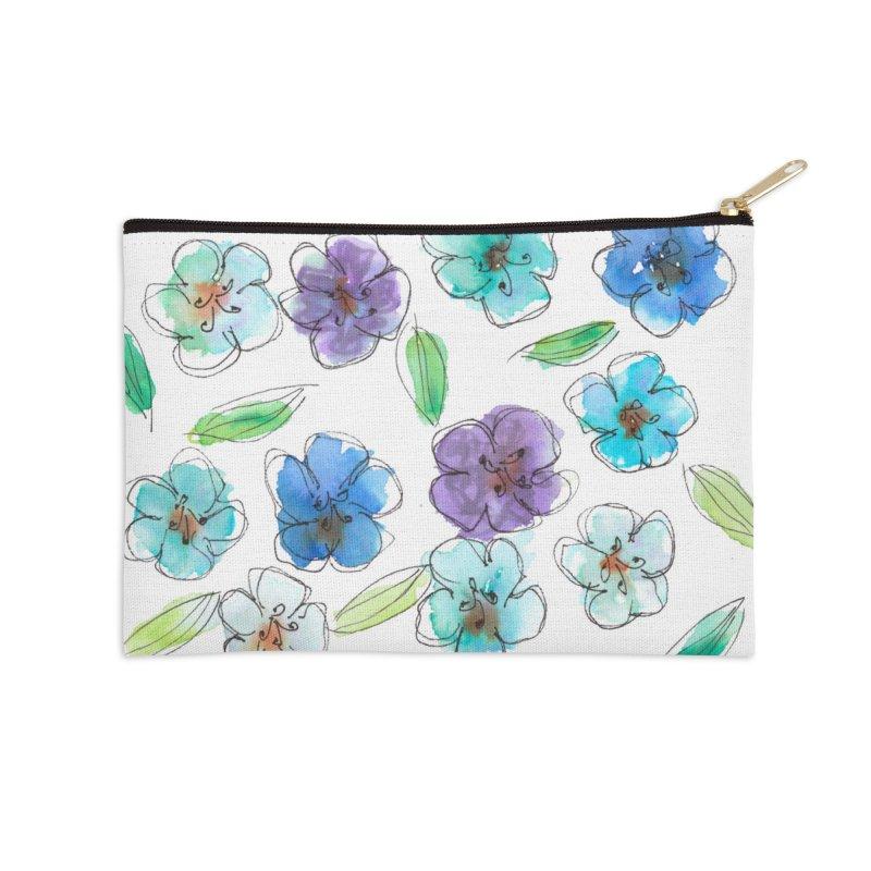 Blue flowers Accessories Zip Pouch by designsbydana's Artist Shop