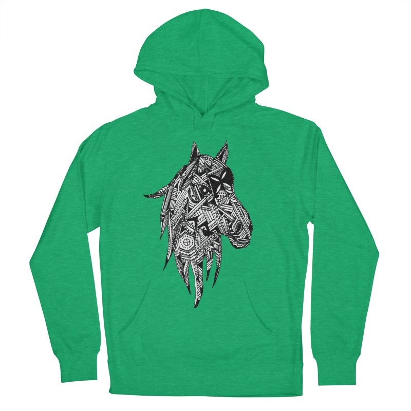FEATHER HORSE Women's French Terry Pullover Hoody by designsbydana's Artist Shop