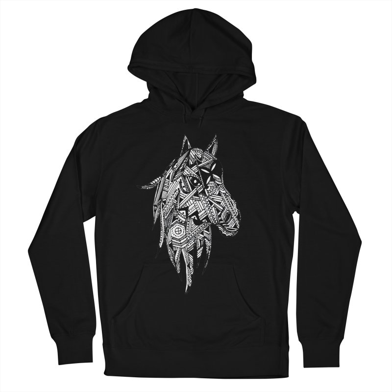FEATHER HORSE Men's French Terry Pullover Hoody by designsbydana's Artist Shop