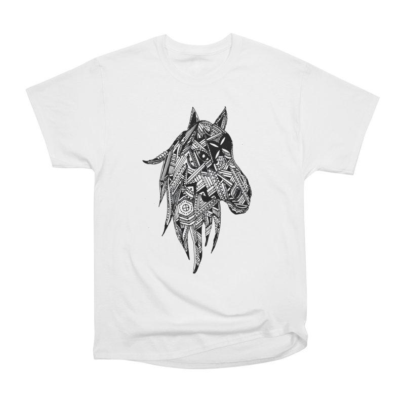FEATHER HORSE Men's Heavyweight T-Shirt by designsbydana's Artist Shop