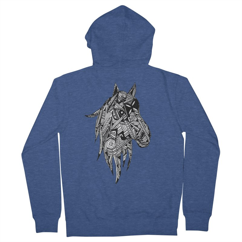 FEATHER HORSE Women's French Terry Zip-Up Hoody by designsbydana's Artist Shop