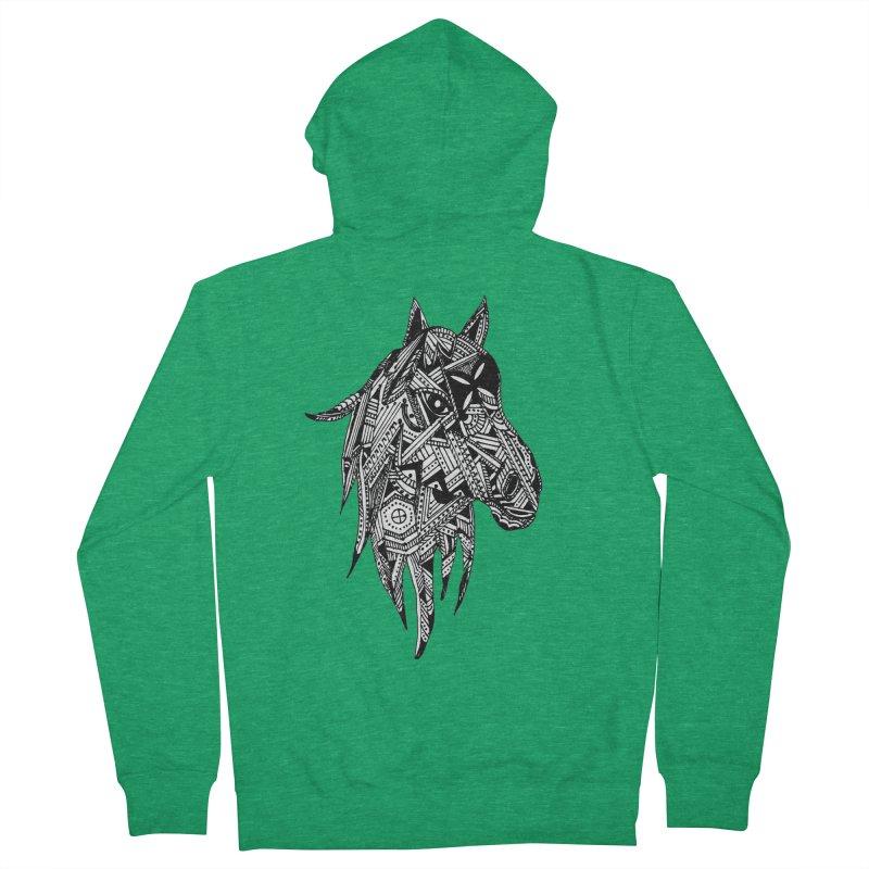 FEATHER HORSE Men's Zip-Up Hoody by designsbydana's Artist Shop