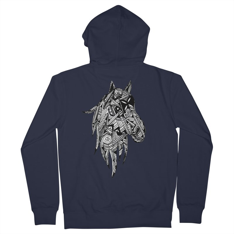 FEATHER HORSE Men's French Terry Zip-Up Hoody by designsbydana's Artist Shop