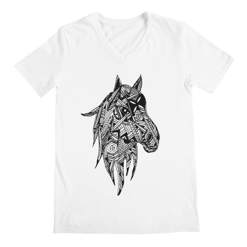 FEATHER HORSE Men's V-Neck by designsbydana's Artist Shop