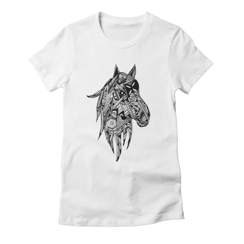 FEATHER HORSE Women's Fitted T-Shirt by designsbydana's Artist Shop