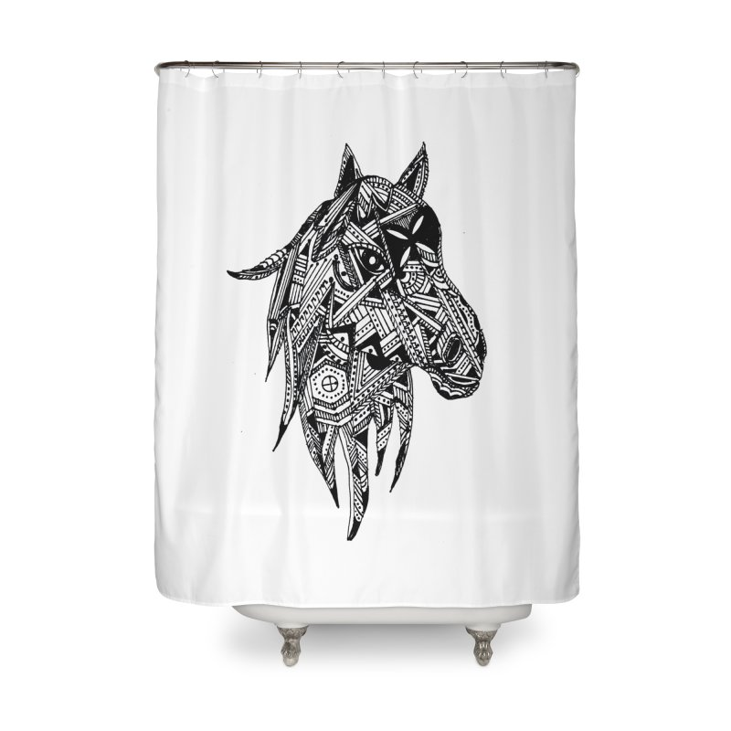 FEATHER HORSE Home Shower Curtain by designsbydana's Artist Shop