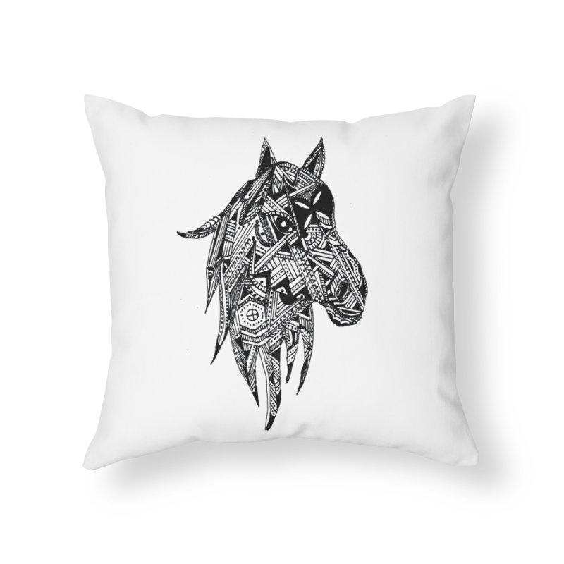FEATHER HORSE Home Throw Pillow by designsbydana's Artist Shop