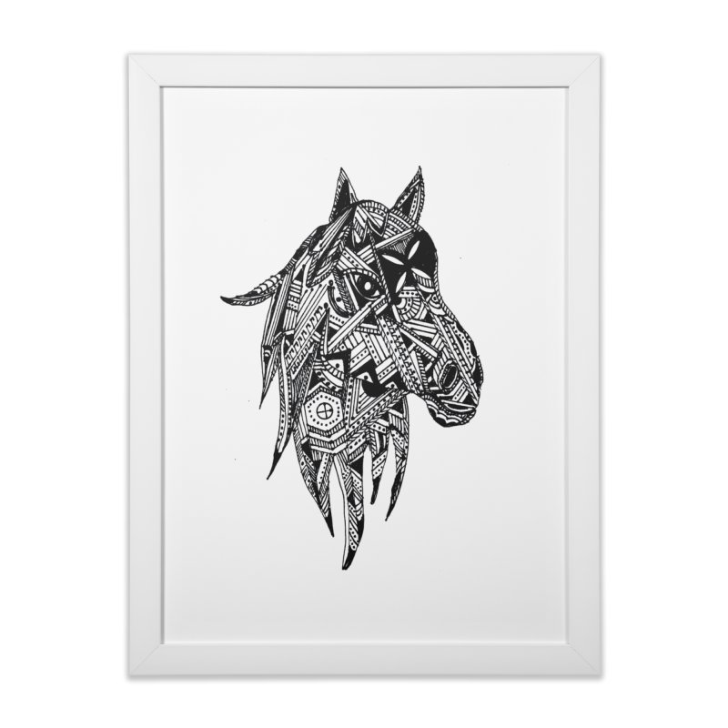 FEATHER HORSE Home Framed Fine Art Print by designsbydana's Artist Shop