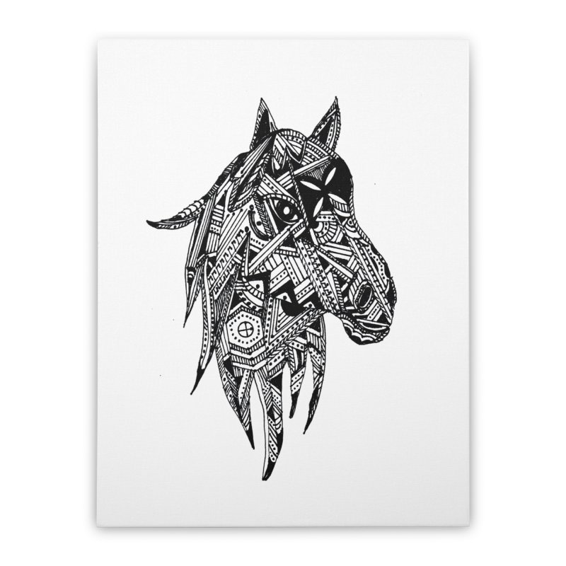 FEATHER HORSE Home Stretched Canvas by designsbydana's Artist Shop
