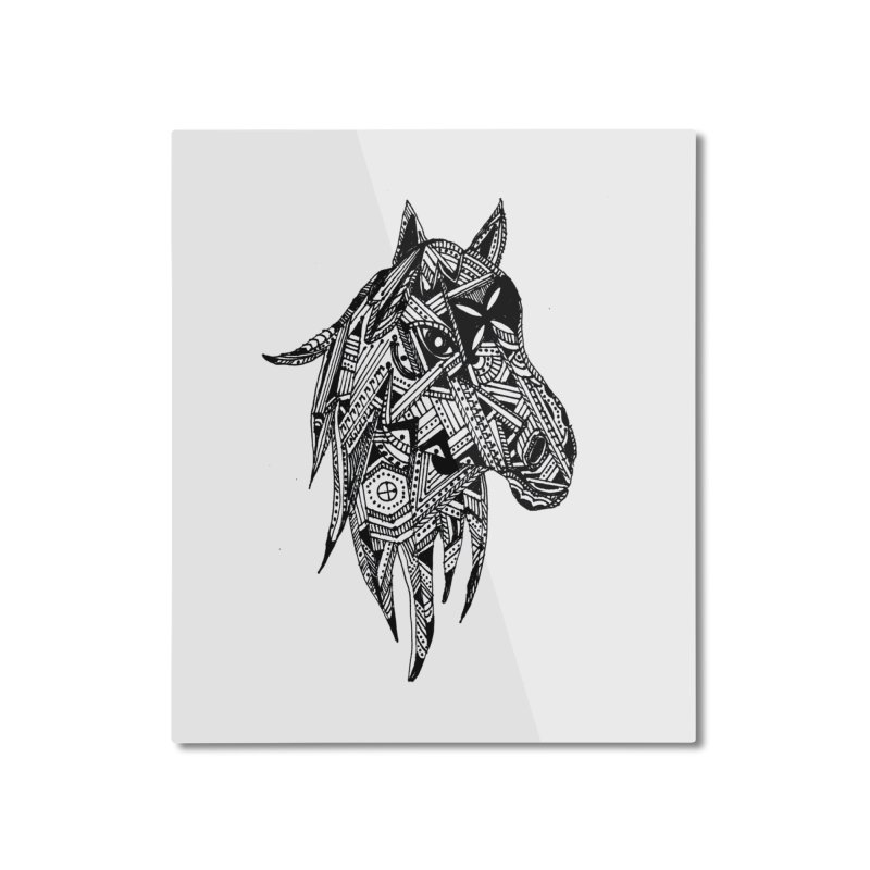 FEATHER HORSE Home Mounted Aluminum Print by designsbydana's Artist Shop
