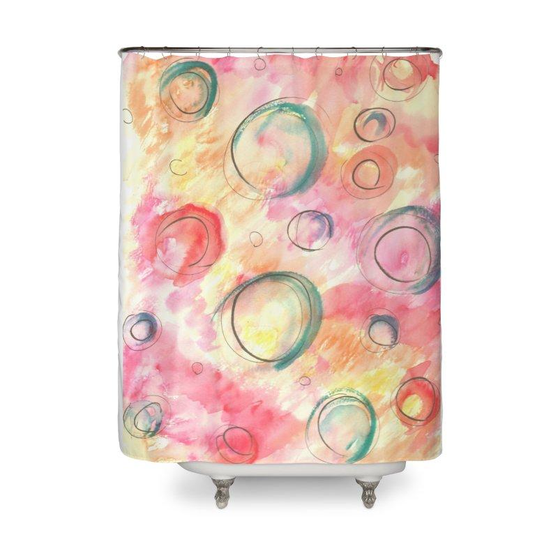 PINK CIRCLES Home Shower Curtain by designsbydana's Artist Shop