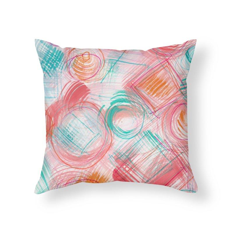 BRUSH CIRCLES Home Throw Pillow by designsbydana's Artist Shop