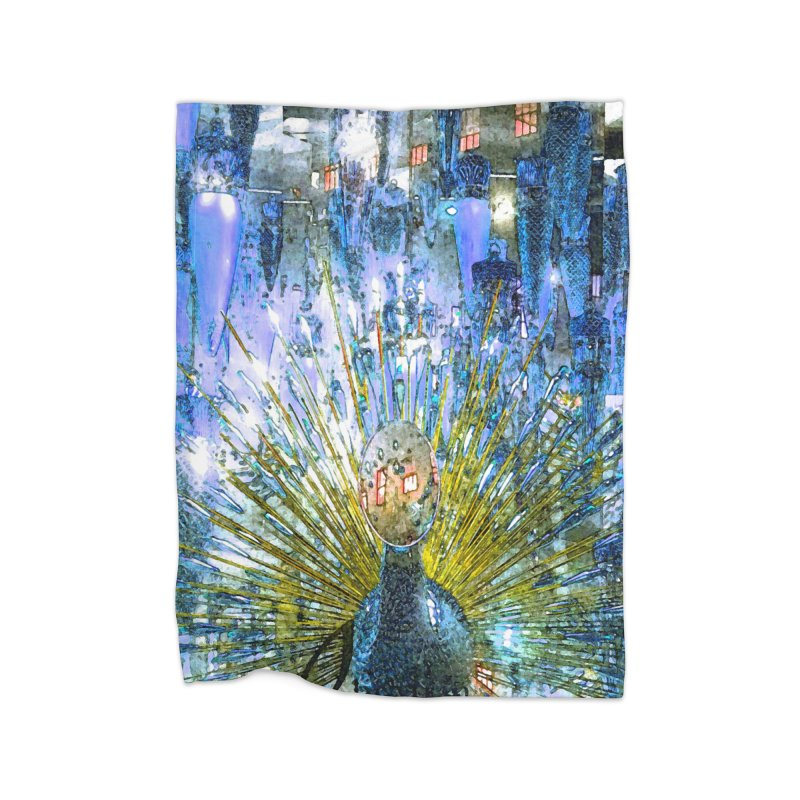 MOD PEACOCK Home Fleece Blanket Blanket by designsbydana's Artist Shop