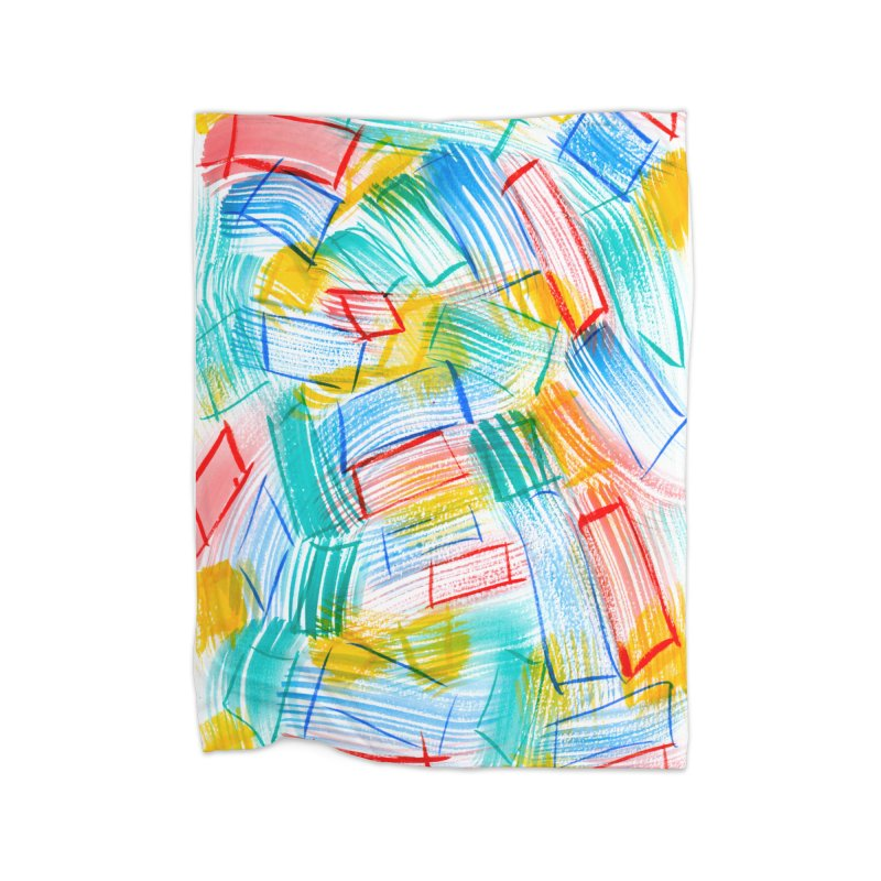 SQUARE BRUSHES Home Fleece Blanket Blanket by designsbydana's Artist Shop