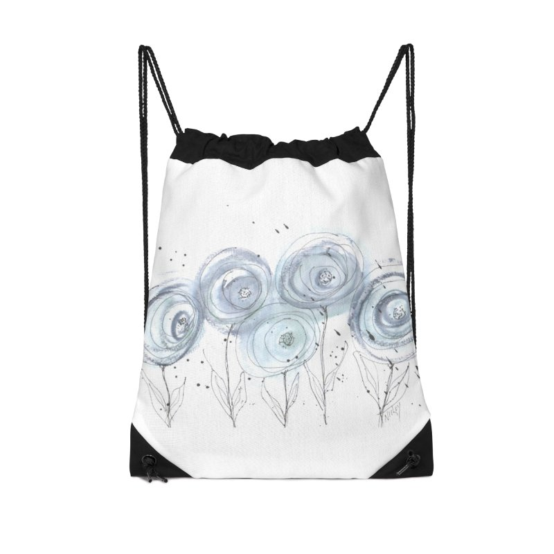 Circle Flowers Accessories Drawstring Bag Bag by designsbydana's Artist Shop