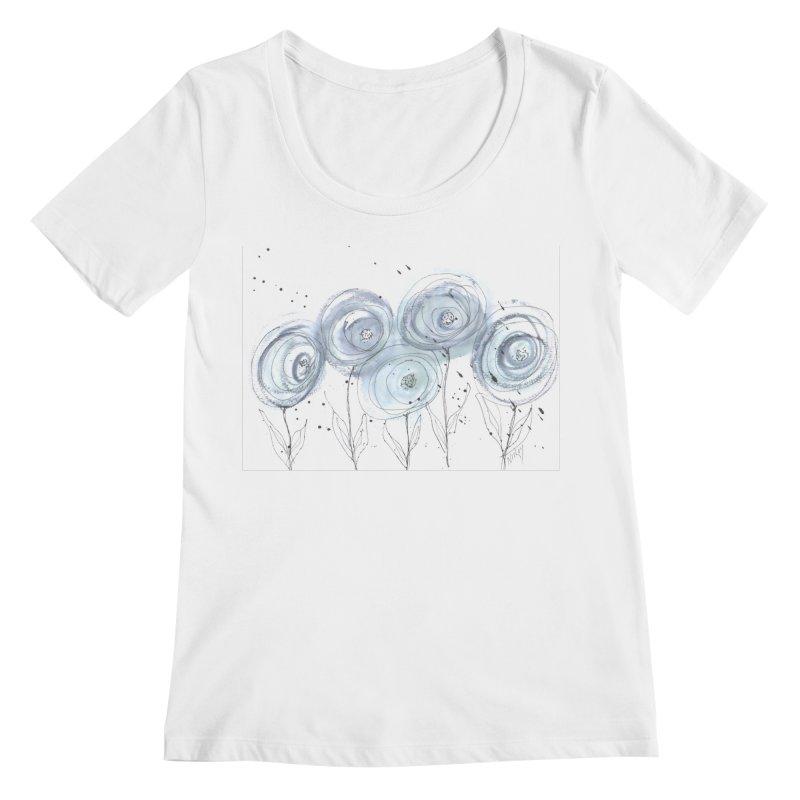 Circle Flowers Women's Regular Scoop Neck by designsbydana's Artist Shop