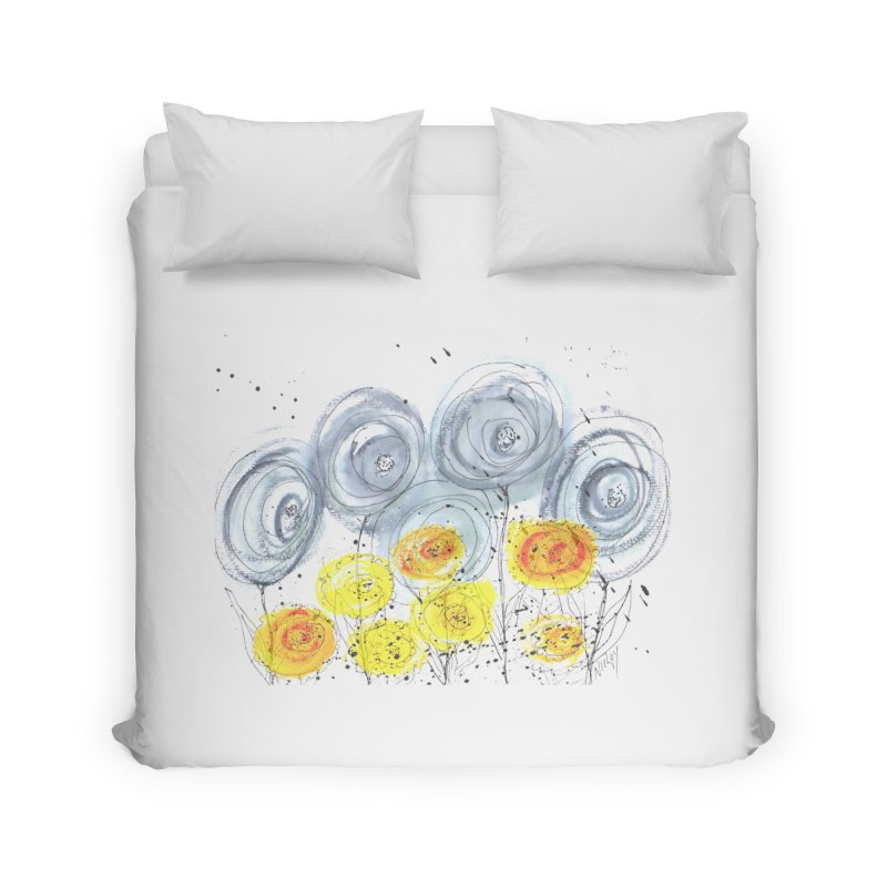 GRAY/YELLOW BLOOM Home Duvet by designsbydana's Artist Shop