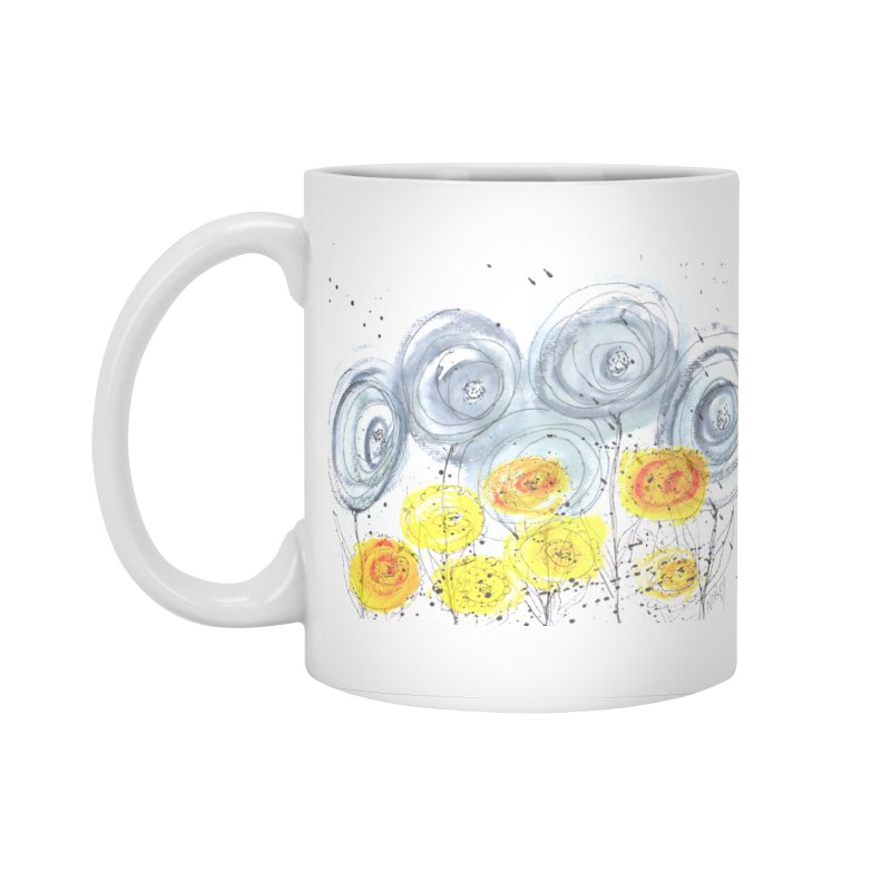 GRAY/YELLOW BLOOM Accessories Standard Mug by designsbydana's Artist Shop