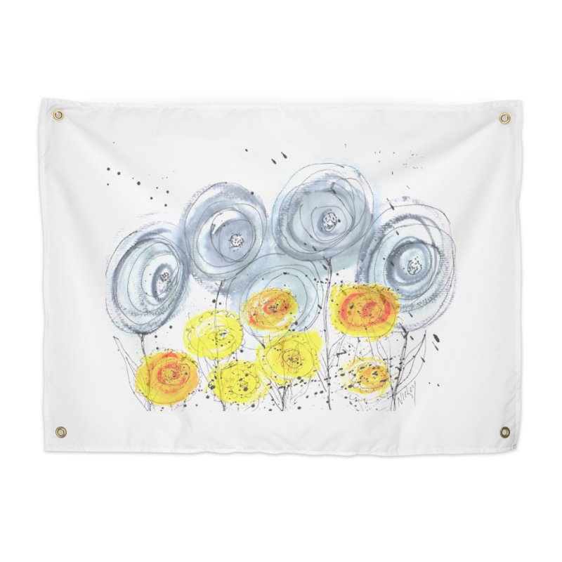 GRAY/YELLOW BLOOM Home Tapestry by designsbydana's Artist Shop