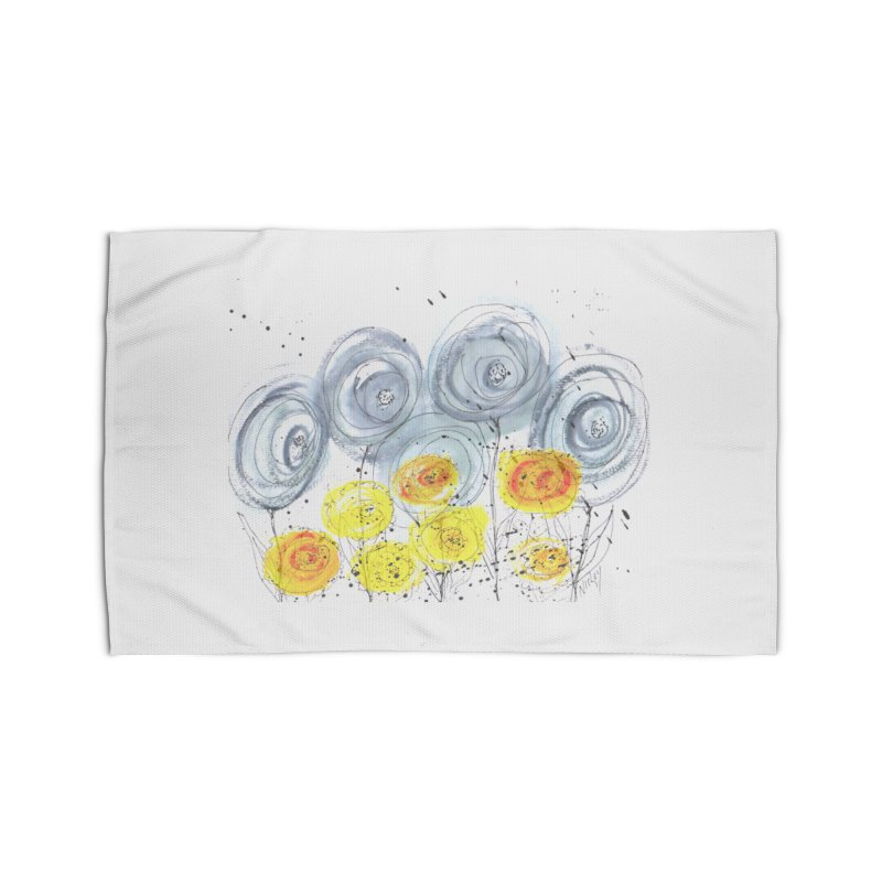 GRAY/YELLOW BLOOM Home Rug by designsbydana's Artist Shop