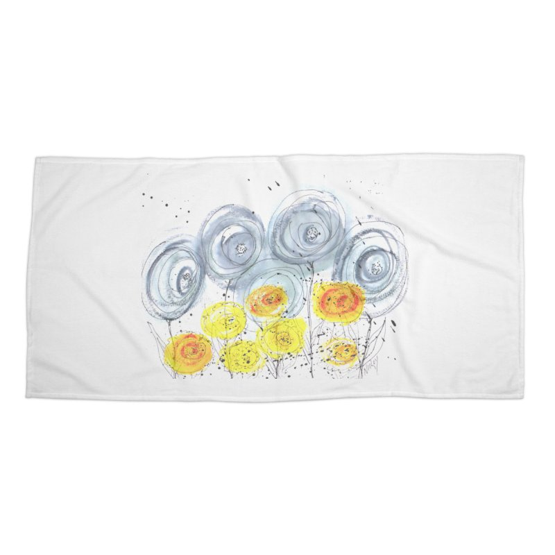 GRAY/YELLOW BLOOM Accessories Beach Towel by designsbydana's Artist Shop
