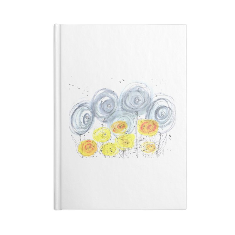 GRAY/YELLOW BLOOM Accessories Lined Journal Notebook by designsbydana's Artist Shop