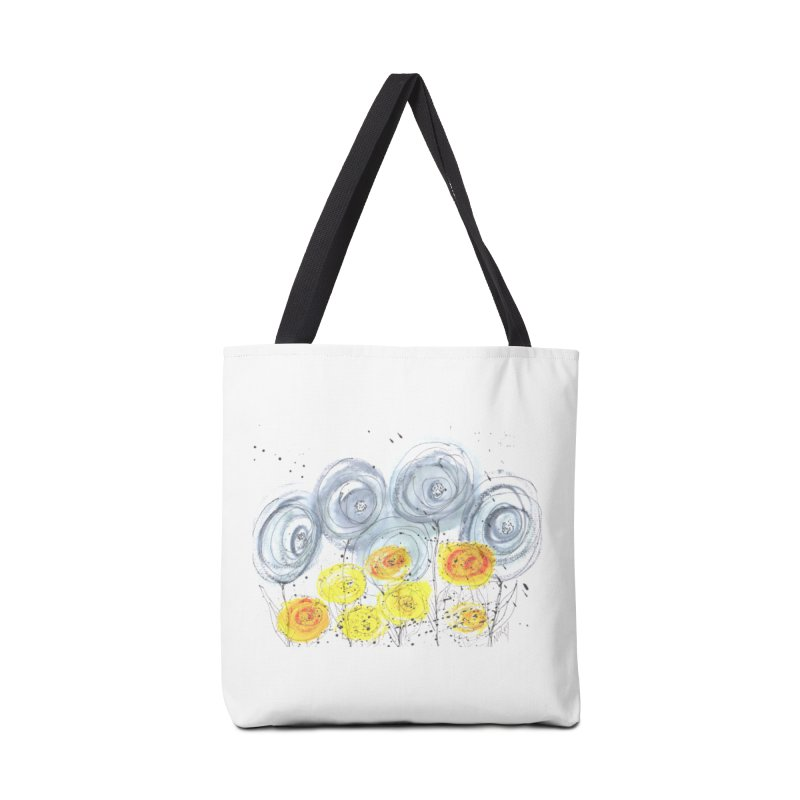 GRAY/YELLOW BLOOM Accessories Tote Bag Bag by designsbydana's Artist Shop