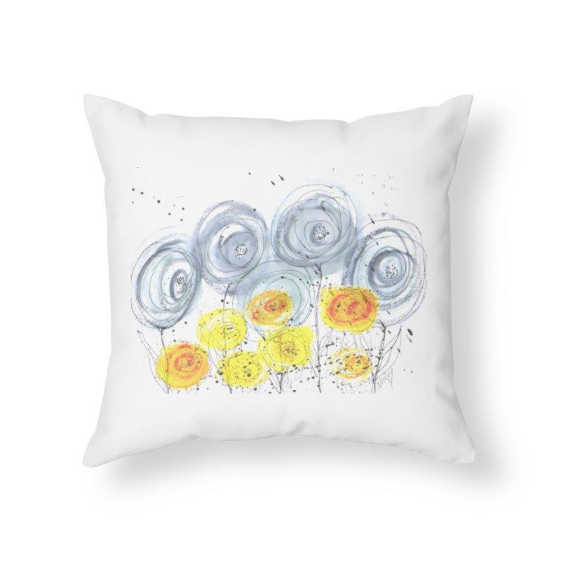 GRAY/YELLOW BLOOM Home Throw Pillow by designsbydana's Artist Shop