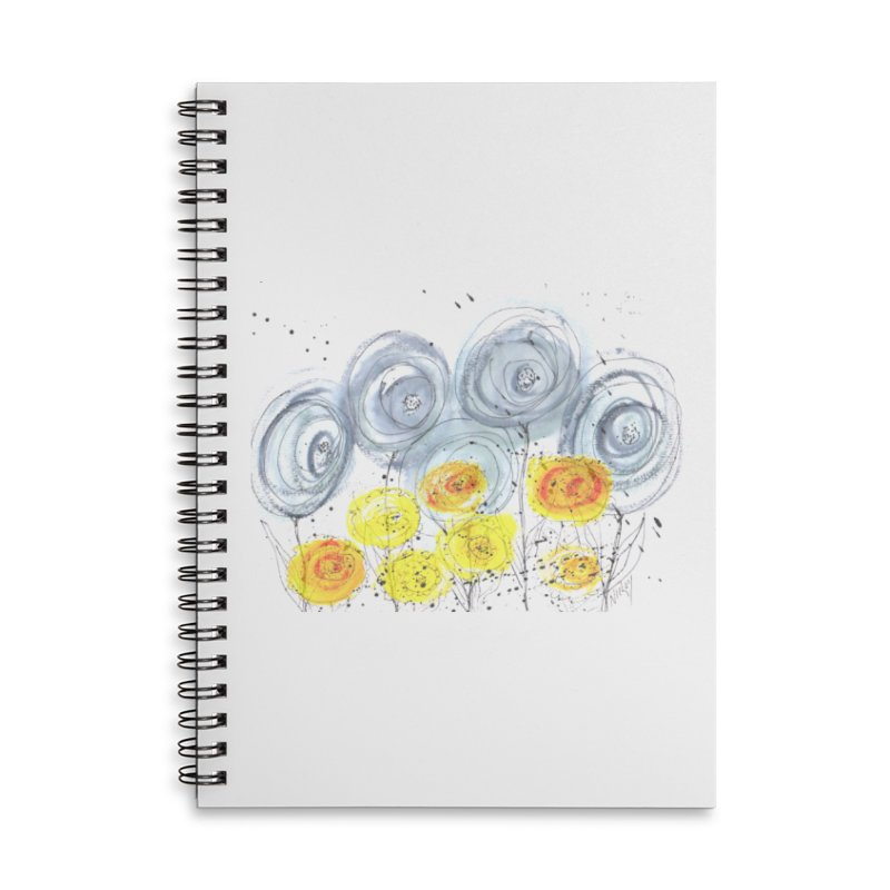 GRAY/YELLOW BLOOM Accessories Lined Spiral Notebook by designsbydana's Artist Shop