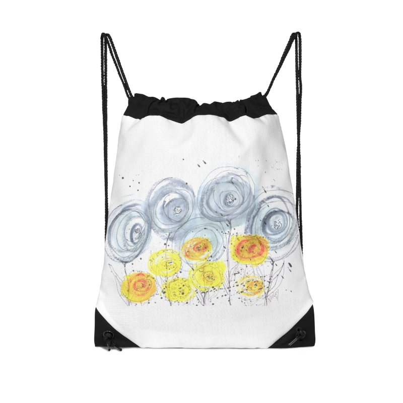GRAY/YELLOW BLOOM Accessories Drawstring Bag Bag by designsbydana's Artist Shop
