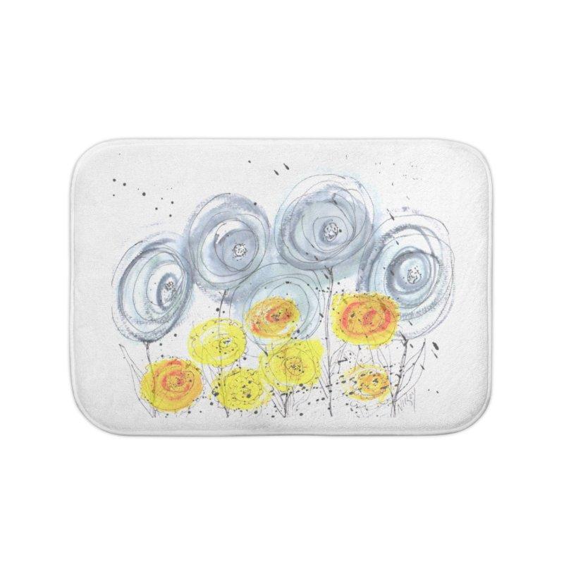 GRAY/YELLOW BLOOM Home Bath Mat by designsbydana's Artist Shop