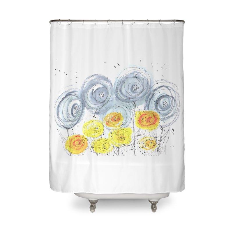 GRAY/YELLOW BLOOM Home Shower Curtain by designsbydana's Artist Shop