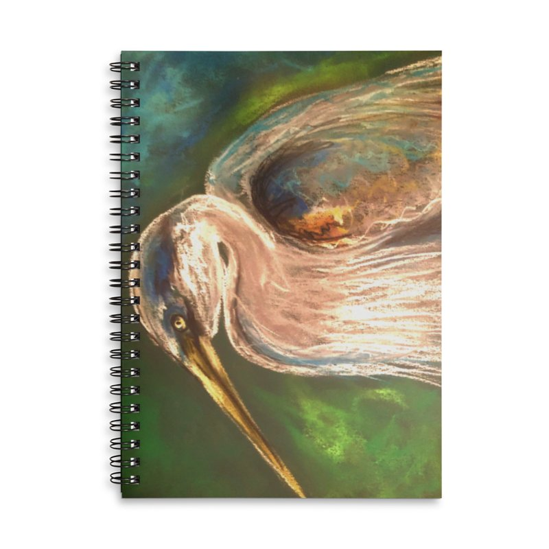 PASTLE HERON Accessories Lined Spiral Notebook by designsbydana's Artist Shop