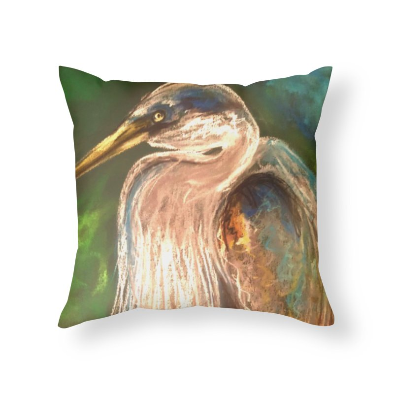 PASTLE HERON Home Throw Pillow by designsbydana's Artist Shop