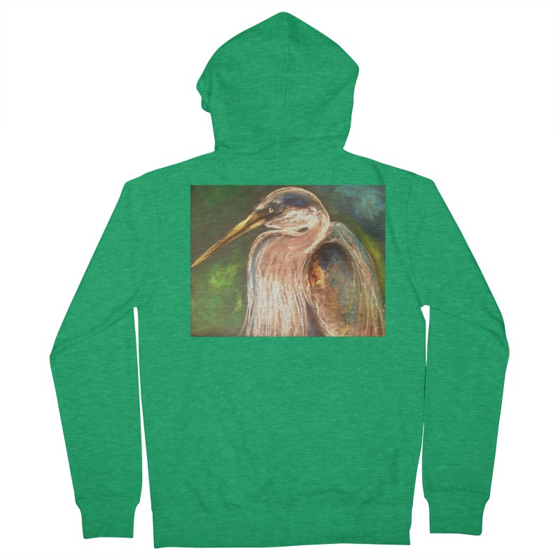 PASTLE HERON Women's French Terry Zip-Up Hoody by designsbydana's Artist Shop