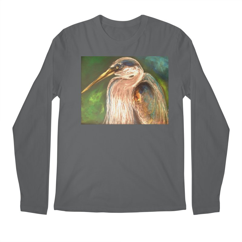 PASTLE HERON Men's Longsleeve T-Shirt by designsbydana's Artist Shop