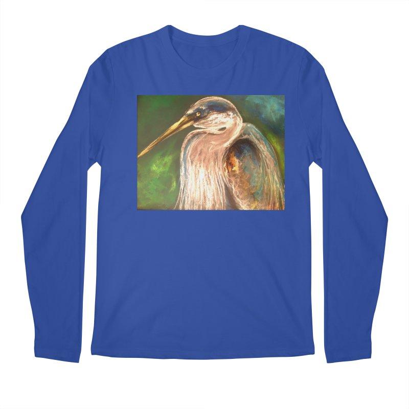 PASTLE HERON Men's Longsleeve T-Shirt by designsbydana's Artist Shop