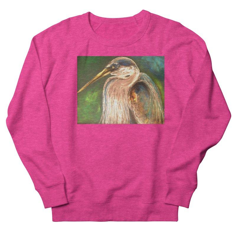 PASTLE HERON Women's French Terry Sweatshirt by designsbydana's Artist Shop