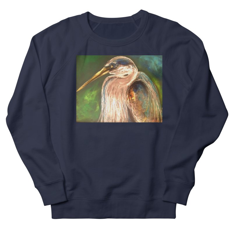 PASTLE HERON Women's French Terry Sweatshirt by designsbydana's Artist Shop