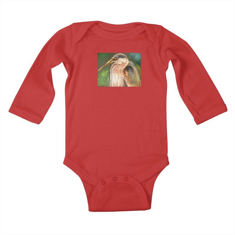 PASTLE HERON Kids Baby Longsleeve Bodysuit by designsbydana's Artist Shop