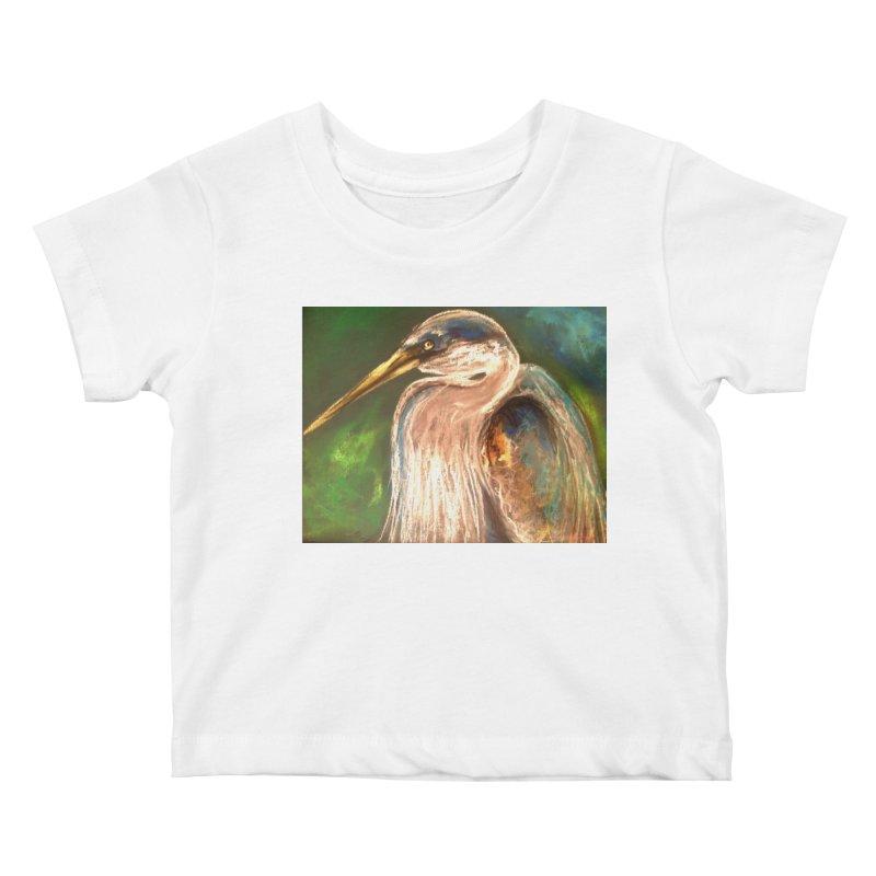 PASTLE HERON Kids Baby T-Shirt by designsbydana's Artist Shop