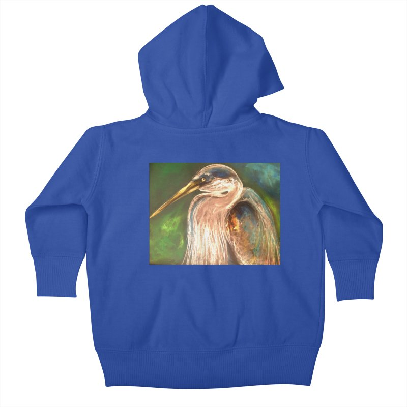 PASTLE HERON Kids Baby Zip-Up Hoody by designsbydana's Artist Shop