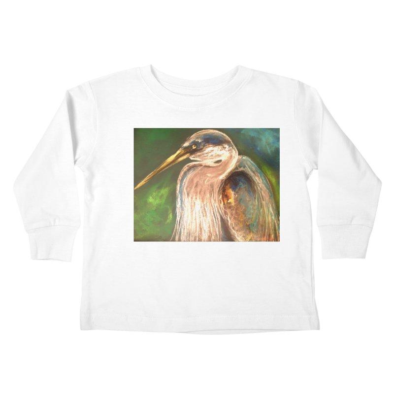 PASTLE HERON Kids Toddler Longsleeve T-Shirt by designsbydana's Artist Shop