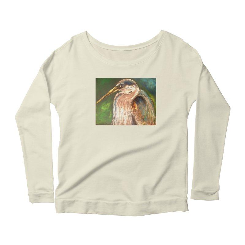 PASTLE HERON Women's Scoop Neck Longsleeve T-Shirt by designsbydana's Artist Shop
