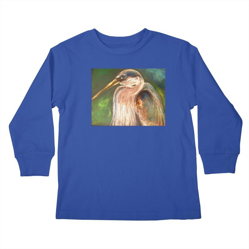 PASTLE HERON Kids Longsleeve T-Shirt by designsbydana's Artist Shop