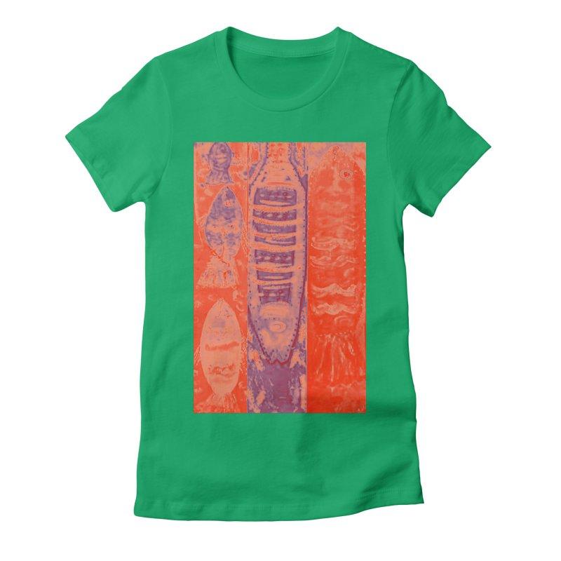 FISH BATIK Women's Fitted T-Shirt by designsbydana's Artist Shop