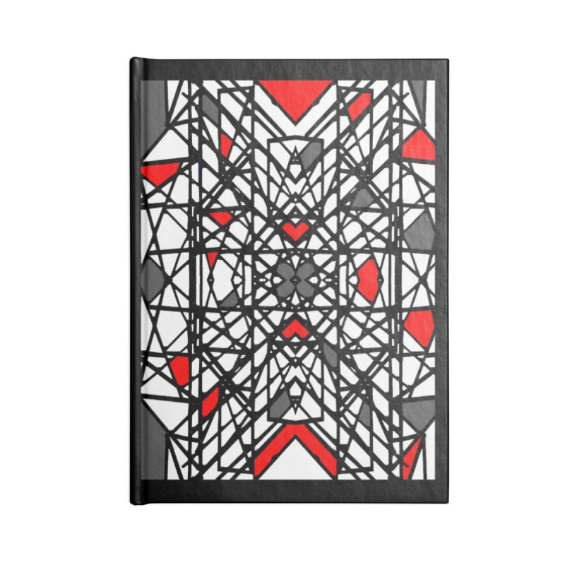BLACK/RED GEO Accessories Lined Journal Notebook by designsbydana's Artist Shop