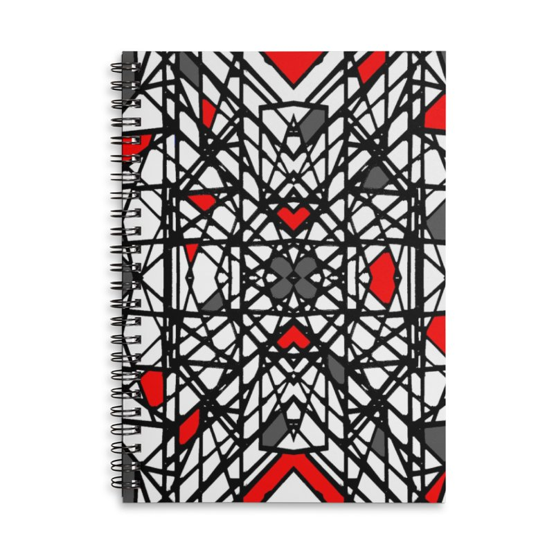 BLACK/RED GEO Accessories Lined Spiral Notebook by designsbydana's Artist Shop